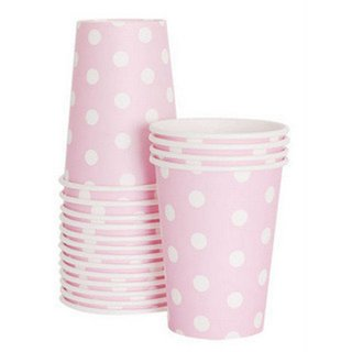Pink with White Polka Dot Paper Cups set of12