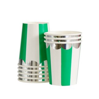Green Scallop Paper Cups set o8
