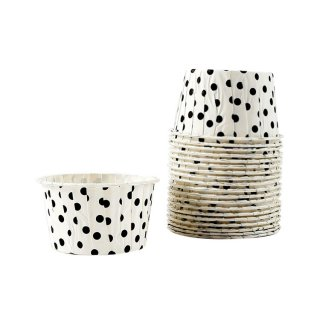 Treat Cups- White with Black Dot set of 20