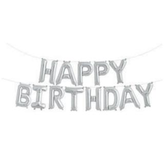 Happy Birthday Balloon Banner-Silver