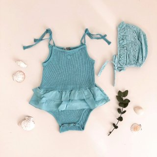 50% off SALE! Ribbed body with double ruffle 100% organic cotton