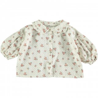 50% OFF SALE - Flower Print Blouse with Puff Sleeves
