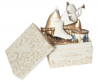 Christmas Ornament Box set of 6 /// White&Gold