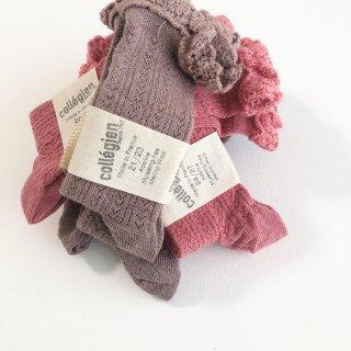 Adeline - Pointelle Merino Wool Knee-high Socks with Merino Lace Trim