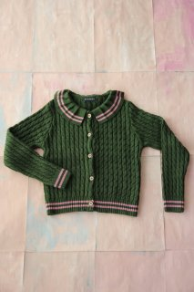Moss green cable-knit cardigan, pink stripe