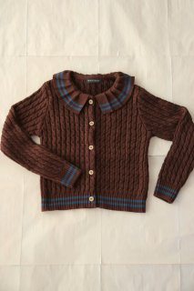 Moss green cable-knit cardigan, brown twist
