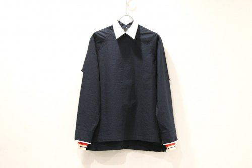 <img class='new_mark_img1' src='https://img.shop-pro.jp/img/new/icons47.gif' style='border:none;display:inline;margin:0px;padding:0px;width:auto;' />NON TOKYO / PIPING-CUFFS PULLOVER SHIRT(NAVY)