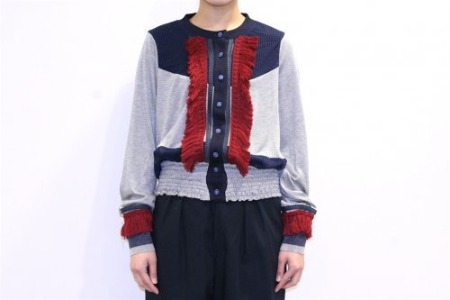 <img class='new_mark_img1' src='https://img.shop-pro.jp/img/new/icons47.gif' style='border:none;display:inline;margin:0px;padding:0px;width:auto;' />NON TOKYO / FRINGE CARDIGAN(GRAY/NAVY)