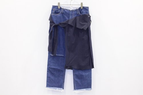 <img class='new_mark_img1' src='https://img.shop-pro.jp/img/new/icons2.gif' style='border:none;display:inline;margin:0px;padding:0px;width:auto;' />THEE / W-face cut off denim for ATTEMPT(03)