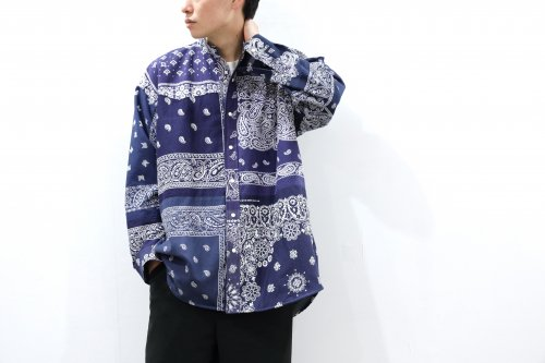 <img class='new_mark_img1' src='https://img.shop-pro.jp/img/new/icons2.gif' style='border:none;display:inline;margin:0px;padding:0px;width:auto;' />Children of the discordance / VINTAGE BANDANA PATCHWORK SHIRT LS(NAVY)