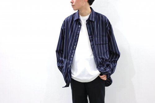 <img class='new_mark_img1' src='https://img.shop-pro.jp/img/new/icons2.gif' style='border:none;display:inline;margin:0px;padding:0px;width:auto;' />no. / FRONT FLY SHIRT(NAVY STRIPE)