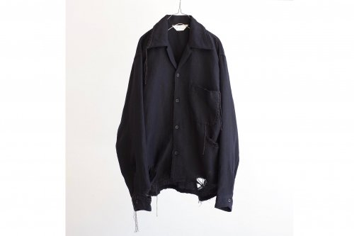 <img class='new_mark_img1' src='https://img.shop-pro.jp/img/new/icons47.gif' style='border:none;display:inline;margin:0px;padding:0px;width:auto;' />ANCELLM / CRASH L/W OPEN COLLAR SHIRT(NAVY)