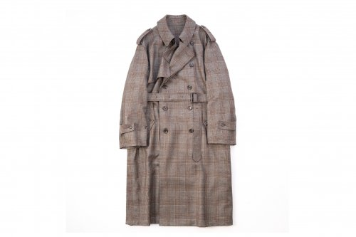 <img class='new_mark_img1' src='https://img.shop-pro.jp/img/new/icons47.gif' style='border:none;display:inline;margin:0px;padding:0px;width:auto;' />stein / OVERSIZED OVERLAPED TRENCH COAT(GLEN CHECK)