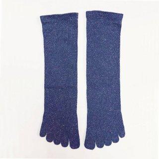 絹糸屋さんの『足指、いきいき。』シルクネップツイード五本指靴下|〜つむぎシルク・絹紬糸〜|ブルーベリー