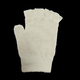 絹糸屋さんの『なんだか、ほっこり。』ふんわりシルク手袋|指あきタイプ|〜つむぎシルク・絹紬糸〜|きなり(アイボリー)