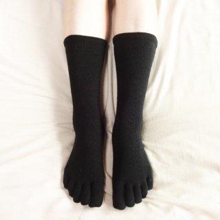 絹糸屋さんの『足指、いきいき。』シルク五本指靴下|〜つむぎシルク・絹紬糸〜|ブラック