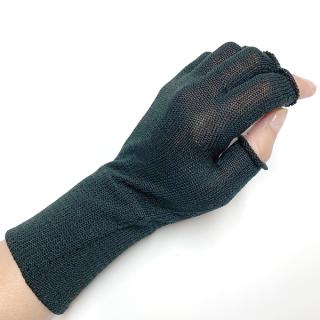 絹糸屋さんの『手首から、しっかり。』シルクハンドウォーマー|〜けんぼうシルク・絹紡糸〜|ブラック