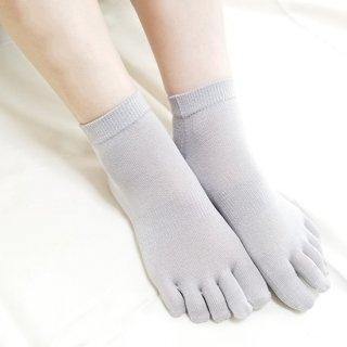 絹糸屋さんの『なめらかフィット。』シルク五本指靴下(スニーカー丈)|〜けんぼうシルク・絹紡糸〜|ライトグレー