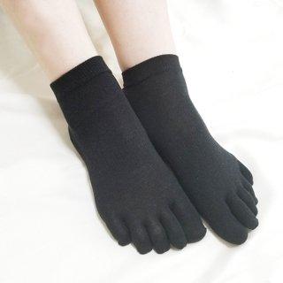 絹糸屋さんの『なめらかフィット。』シルク五本指靴下(スニーカー丈)|〜けんぼうシルク・絹紡糸〜|ブラック