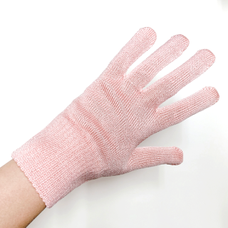 絹糸屋さんの『おそとで育った蚕の力。』野蚕生糸のシルク手袋|〜フィラメントシルク・生糸〜|ピンク