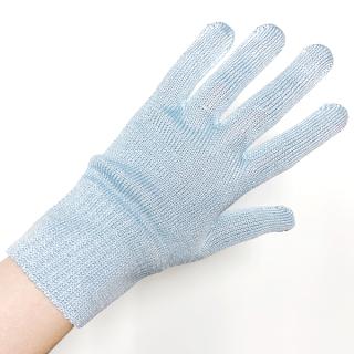 絹糸屋さんの『おそとで育った蚕の力。』野蚕生糸のシルク手袋|〜フィラメントシルク・生糸〜|ブルー