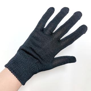 絹糸屋さんの『おそとで育った蚕の力。』野蚕生糸のシルク手袋|〜フィラメントシルク・生糸〜|ブラック