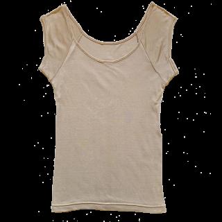 【新入荷】絹糸屋さんの『絹、肌、なでる。』シルクフレンチ袖インナー|〜極細番手けんぼうシルク・絹紡糸〜| モカベージュ
