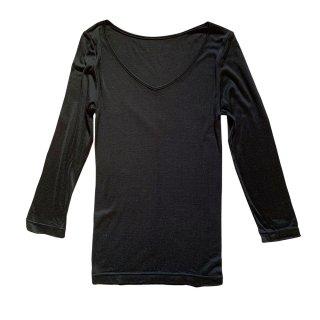 【新入荷】絹糸屋さんの『絹、肌、なでる。』シルク七分袖インナー|〜極細番手けんぼうシルク・絹紡糸〜|ブラック