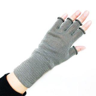 【再入荷】絹糸屋さんの『手首から、しっかり。』シルクハンドウォーマー|〜けんぼうシルク・絹紡糸〜|チャコールグレー