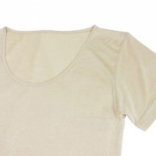 極細番手絹紡シルク(絹紡糸)の三分袖肌着