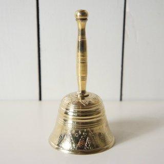 アンティーク真鍮 光沢のある 呼び鈴 ブラス ハンドベル 鐘 絵柄あり