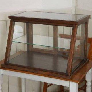 卓上 ガラスケース 古木 斜め2段 5面 収納棚 飾り棚 駄菓子 店舗什器 ダーク