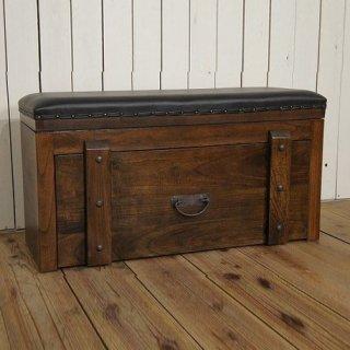 ビンテージ調 ベンチ型 チェスト ボックス 収納箱 木箱 スライド引出 無垢材 ダーク