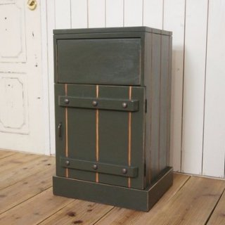 ハンドメイド ダストボックス 木製 ゴミ箱 リベット アーミーグリーン