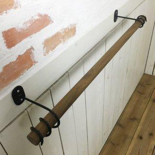アンティーク調 天然木製 チーク無垢材 特大 タオルハンガー デザイン鉄継手 W80cm