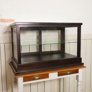 卓上 ガラスケース 古木 2段 5面 収納棚 飾り棚 駄菓子 店舗什器 ダーク