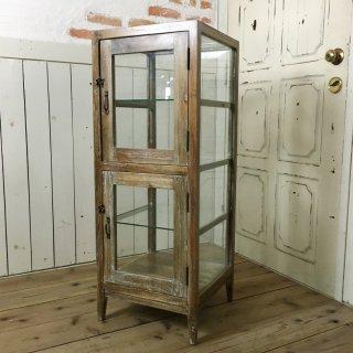 アンティーク調 5面ガラスケース 2段扉 パンケース ブレッドケース BREAD ホワイトウォッシュ
