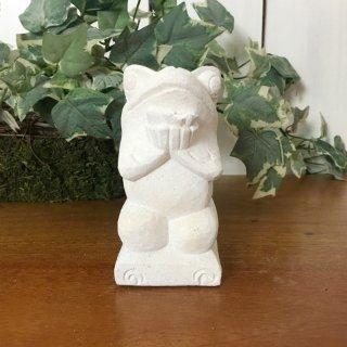 パラス石 石彫り バリ島 アジアン オブジェ 置物 カエル 10cm (プルメリア手持ち正面)