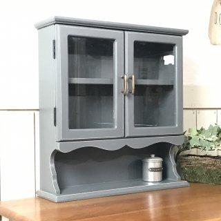 アンティーク調 スパイスラック グレー 小振りな卓上 カップボード 飾り棚 小物収納