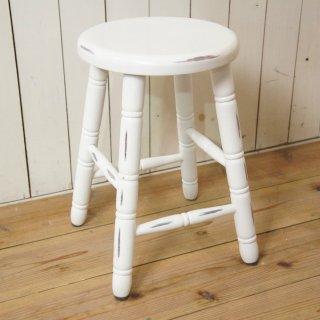 英国アンティーク調 西洋 スツール マホガニー無垢材 丸椅子 シャビーホワイト