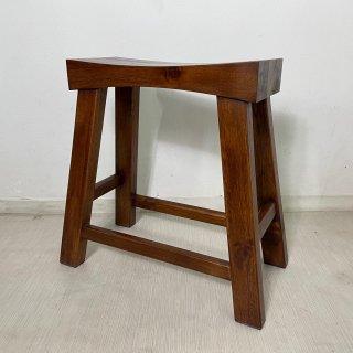 チーク無垢材 ウッドベンチスツール 作業椅子 ダーク
