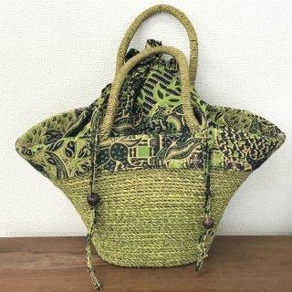 天然パンダン手編み  巾着トートバッグ #Y213