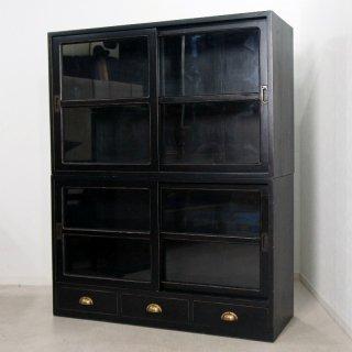 アンティーク調 食器棚キャビネット 引き出し3杯 ブラック 店舗什器 収納棚