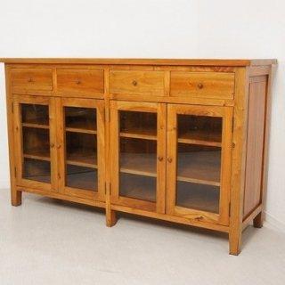 アンティーク調 食器棚 3段棚 4杯 サイドボード