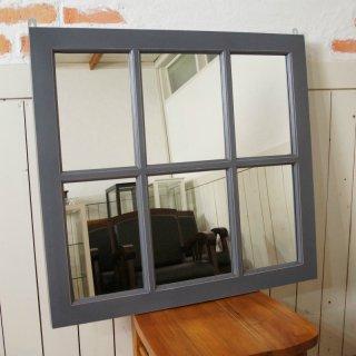アンティーク調 木製窓枠 鏡 壁掛けミラー グレー 6枠
