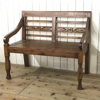 アンティーク調 チーク無垢 長椅子 2人用 ベンチ  ダーク