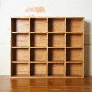 ミンディ 木製小物入れ トレイ 升箱 木箱 飾り棚 16マス ナチュラル