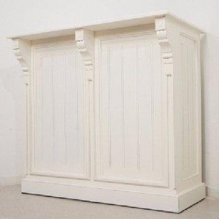 アンティーク調 マホガニー レジカウンター テーブル サイドボード レジ台 店舗什器 ホワイト