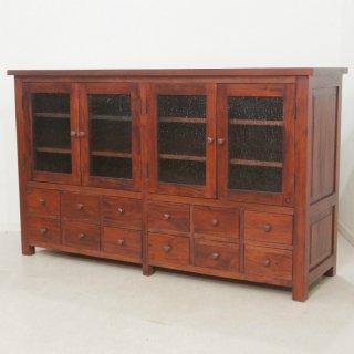 アンティーク調 食器棚 3段棚 12杯 サイドボード マホガニー