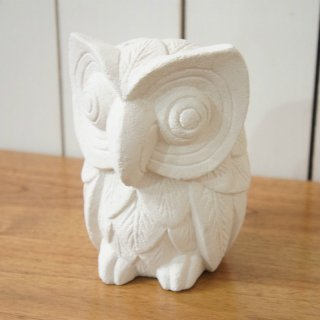 バリ島 パラス石 石彫り シロフクロウ M 幸運の白フクロウ 梟 福郎 置物 オブジェ